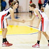 Sisters Kelsey Key, left, and Katie Key perform their pregame hand shake as Frankton faced Shenandoah in the opening game of the sectional tournament at Shenandoah on Tuesday.