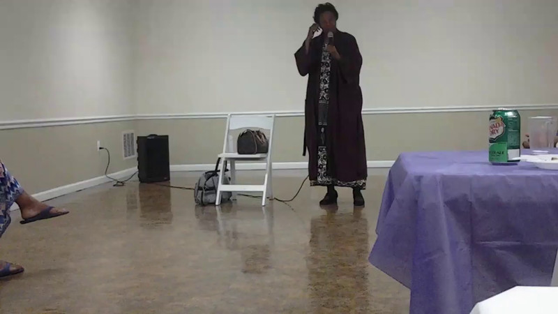 Freddie Simmons, performing her one person show at Libby's housewarming party. 2014