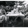 "(photo-at) . . . ""Mabel -- Rose -- Sadie -- Lottie -- Adelaide -- Florence"" :: {written on back}.<br /> - ""JUL 60"" :: {stamped on print}.<br /> -- Rita remembers this gathering at Clarence's house in Zumbrota.<br /> - - Scanned print size 3-1/2"" x 3-1/2"""