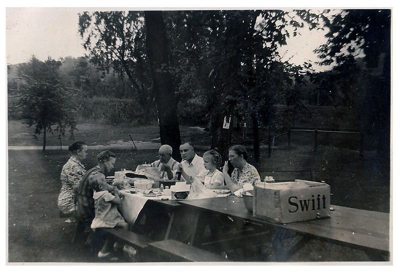 "(photo-bu) . . . <br /> <br /> {from Darlene 29.May.2013} :: ""Elmer, Donna, and Florence on right side with Claus Have no idea who is seated next to Marie Possibly taken at Colville Park in Red Wing""<br /> <br /> {from Judy Iola 2.Jun.2013} :: ""Grandpa Fredine on left with Elmer, Donna and Florence, and Grandma Fredine, Judy Hove and Judy Iola on left."""