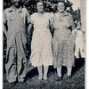 "(photo-ai) . . . ""Fred , Mabel & Marie"" :: {from Bob & Rita Elmen's Fredine family history}.<br /> - Jeanne in background on right :: {Darlene and I are pretty sure this is Jeanne}.<br /> - - Scanned print size 2-1/2"" x 3-1/2"".<br /> - - - Some references have ""Marie"" and some have ""Maria"".<br /> - - - - With any photo, please feel free to leave comment at lower left, or email me at ds329ds@hotmail.com."