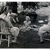 "(photo-av) . """"Marie on the right - Rose, Sadie, Swede, Rita on the ground"""" :: {from Darlene}.<br /> - """"possibly Hale, Sadie's husband, is other man. Only a thought"""" :: {from Darlene}.<br /> -- """"I do not know who the man is in the background, possibly Ralph"""" :: {from Rita}.<br /> --- Scanned print size 3-1/4"" x 4-3/4"" with serrated edge."