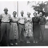 "(photo-ae) . . . ""1.Rudie , 2.Mabel , 3.Swede , 4.Sadie , 5.Adelaide , 5.Elmer -- July 17, 1960 at Swedes -- Zumbrota"" :: {written on back of print}.<br /> - Mabel and siblings --- Jeanne's mother, aunts, uncles.<br /> - - Scanned print size 3-1/2"" x 3-1/2"".<br /> ----------------------------<br /> - - - With any of these photos, please feel free to leave a comment in lower left, or email me at ds329ds@hotmail.com - Dave Stack, great-grandson of Claus and Marie.<br /> - - - - I am currently looking after Jeannes's photo collection. Here I have posted the Fredine family related photos I have located so far in Jeanne's collection. Most of these photos were stored in one photo album where the pictures were glued to black construction paper. This was maybe good in that it kept all the photos together and protected them from getting scattered and lost. However, the gluing to the black paper has obscured or completely obliterated any old writing that may be on the backs.<br /> - - - - - For posting on this website I have reduced the size of many of these digital photo .jpg files. If you would like a higher resolution scan file to make prints, please send me an email."