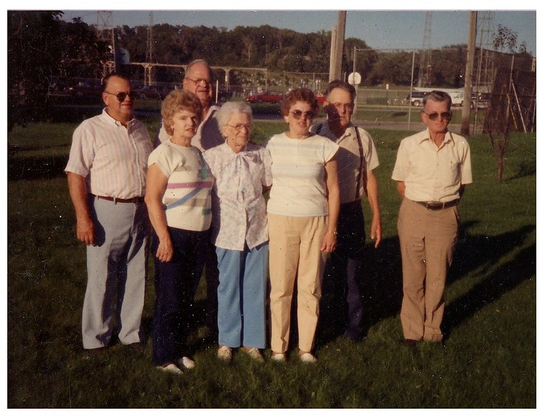 """(photo-br) . . . <br /> <br /> {writing on back looks like} :: """"Virgil (Virg), Willard (Bill), Eldon (Al), Merle (Bud), Mary Lou (Marie Balcome), Mom- Judith, Judy Iola (Judy- Gene Kruempel), August 28th 1991 - My 92nd birthday""""<br /> <br /> {from Darlene 29 May 2013} :: """"I believe the men are mislabeled - from left to right - Merle (BUD) - Willard ( Bill ) - Eldon (Al) and Virgil (Virg) on the right. I always remember Virgil as a very little guy. We are going to visit BUD in June. His wife MAGGIE passed away this summer. He is in Coatesville, PA-""""<br /> <br /> {from Judy Iola 2 Jun 2013} :: """"Bud and Eldon are switched on this photo. Bud, El, Bill, and Virgil: Mary Lou, Judith, Judy Iola"""""""