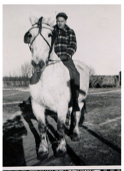 "(photo-ch) . . . """"Merle and his horse"""" :: {written on back}.<br /> - Scanned print size 2-3/4"" x 3-3/4"" with decorative border.<br /> -- Print sent to Judy Iola. :: {Dave}."