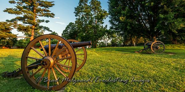 Civil War canon at sunrise.