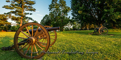 Civil War canon at sunrise.