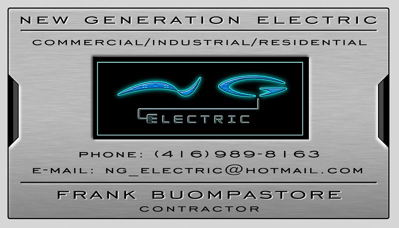 Business card designed for client. New Generation Electric.