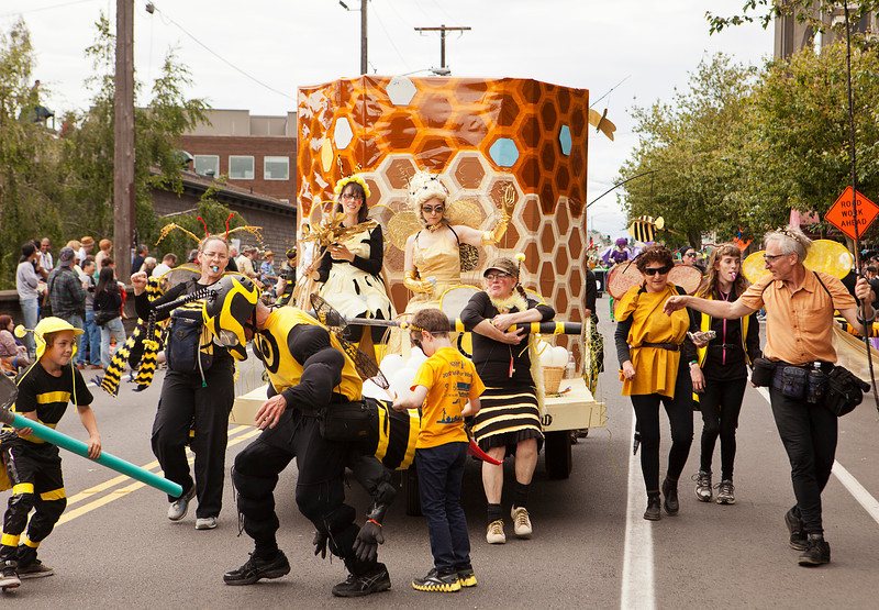 SEATTLE, WA - JUNE 16, 2012: A parade float and performance troupe celebrates the secret life of bees during the 2012 Annual Fremont Summer Solstice Parade in Seattle on June 16, 2012. The parade celebrates the start of summer on the Saturday on or immediately before the Solstice.