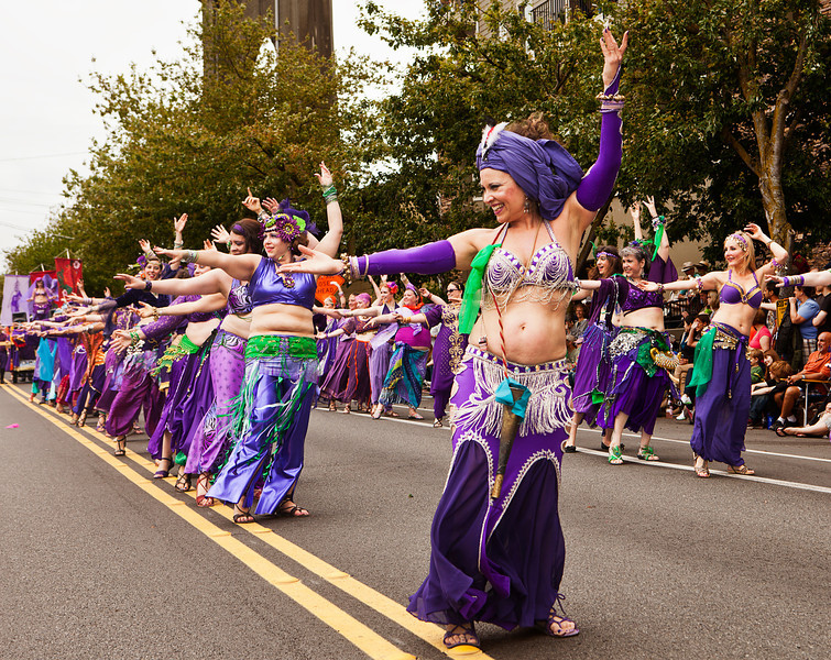 SEATTLE, WA - JUNE 16, 2012: A line-up of belly dancers in the Silk Road Performance Troupe perform during the annual Fremont Summer Solstice Day Parade in Seattle on June 16, 2012. The parade celebrates the start of summer on the Saturday on or immediately before the Solstice.