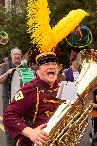 SEATTLE, WA - JUNE 16, 2012: An unidentified member in one of the marching bands shouts out during the 2012 Annual Fremont Summer Solstice Parade in Seattle on June 16, 2012. The parade celebrates the start of summer.