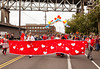 SEATTLE, WA - JUNE 16, 2012: The lead banner of the Super Hugger Performance Troupe is filled with hearts in the annual Fremont Summer Solstice Parade in Seattle on June 16, 2012. The parade celebrates the start of summer on the Saturday on or immediately before the Solstice.