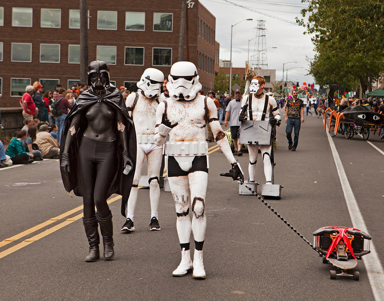 SEATTLE, WA - JUNE 16, 2012: The ensemble of Darthette Vader and the Storm Troopers performed during the annual Fremont Summer Solstice Parade in Seattle on June 16, 2016. The parade celebrates the start of summer on the Saturday on or immediately before the Solstice.