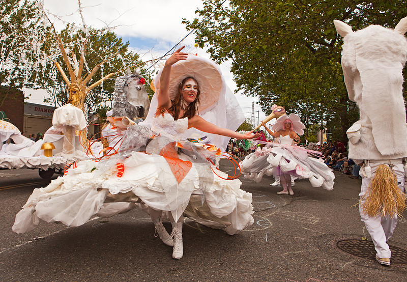 SEATTLE, WA - JUNE 16, 2012: A member of the Ice Queenista ensemble performing during the annual Fremont Solstice Day Parade in Seattle on June 16, 2012. The parade celebrates the start of summer on the Saturday on or immediately before the Solstice.
