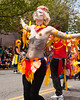 SEATTLE, WA - JUNE 16, 2012: A female dancer in full costume performs in the 2012 Annual Fremont Summer Solstice Parade. The parade celebrates the start of summer.