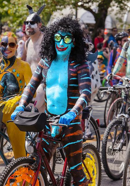 Naked Cyclist As Blue Satyr