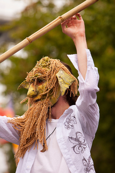 Seattle, Washington - June 18, 2011:  A man in an unusual mask is costumed for the 2011 Annual Fremont Summer Solstice Day Parade. The parade celebrates the summer solstice and features a number of alternative, non-traditional artistic ensembles.