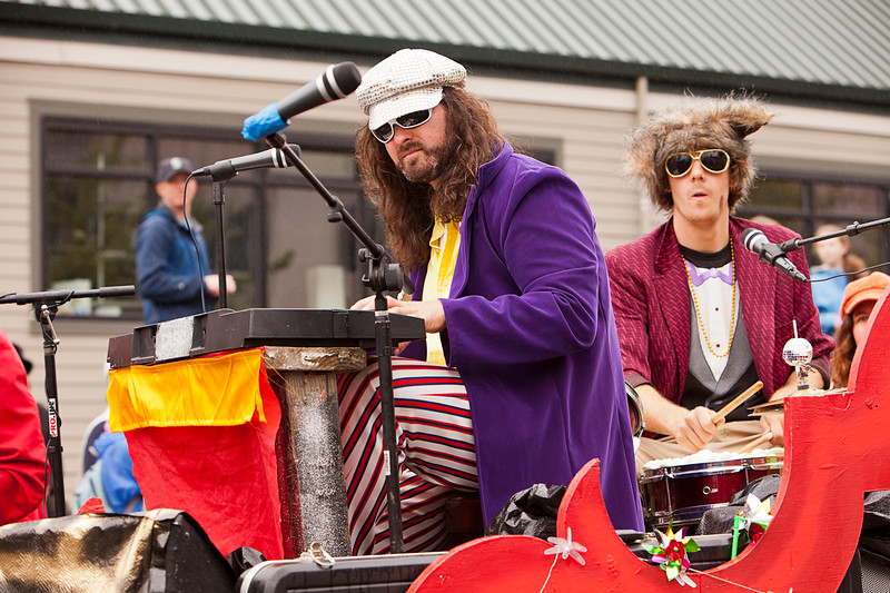 Seattle, Washington - June 18, 2011:  Members of the Phish-y! ensemble lip-synch their way through annual Fremont Solstice Day Parade. The parade celebrates the summer solstice and features a number of alternative, non-traditional artistic ensembles.