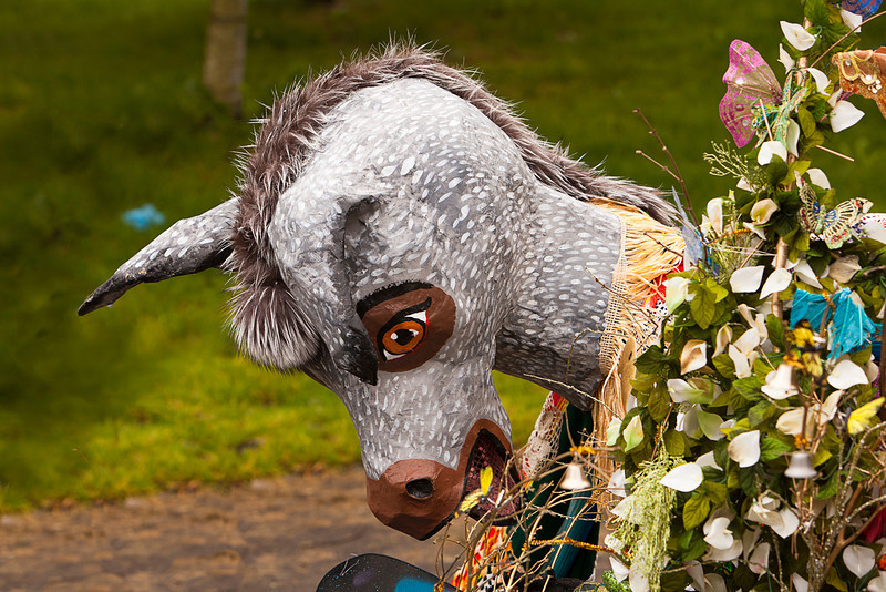 Seattle, Washington - June 18, 2011:  A grey donkey costume and props used by the Chase of Europa ensemble are laid to rest at the end of the 2011 Annual Fremont Summer Solstice Day Parade. The parade celebrates the summer solstice and features a number of alternative, non-traditional artistic ensembles.