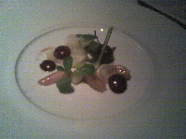 Salad of Jacobesen's Farm onions, poached Bing cherries, green almonds, garden mache and pickled ramp vinaigrette