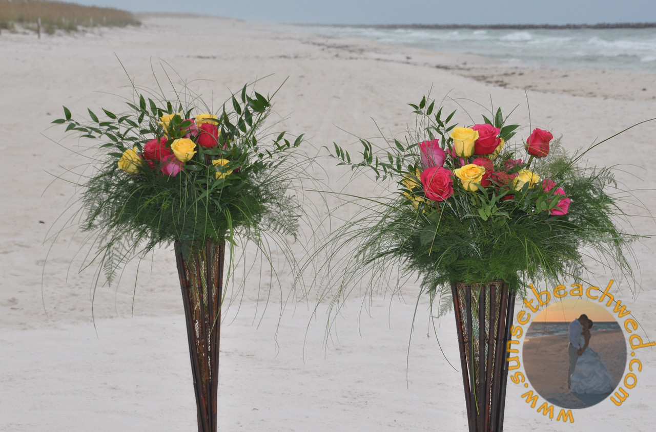 Pink and Yellow Rose Arrangements