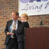 Shelly Kiser presents Advocacy Award to US Senator Sherrod Brown (D-Ohio) at the Ohio Asthma Coalition meeting October 8