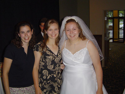 Nicki and Caryn going stag at Jess' wedding in 2004.