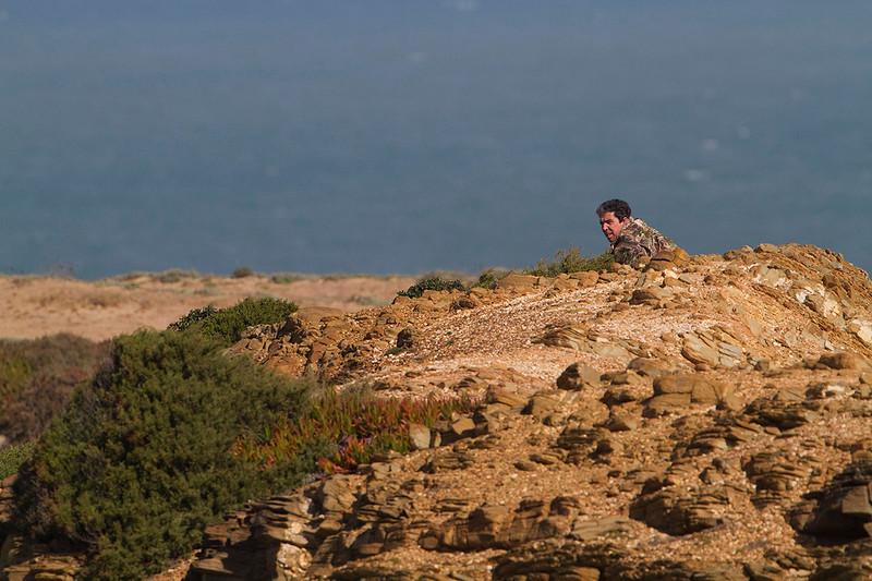 João Edgar watching the falcons on the cliffs. Feb2011
