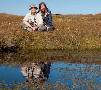 Selfportrait in Hermaness (Shetland). August 2014. Autorretrato con Ana en Shetland
