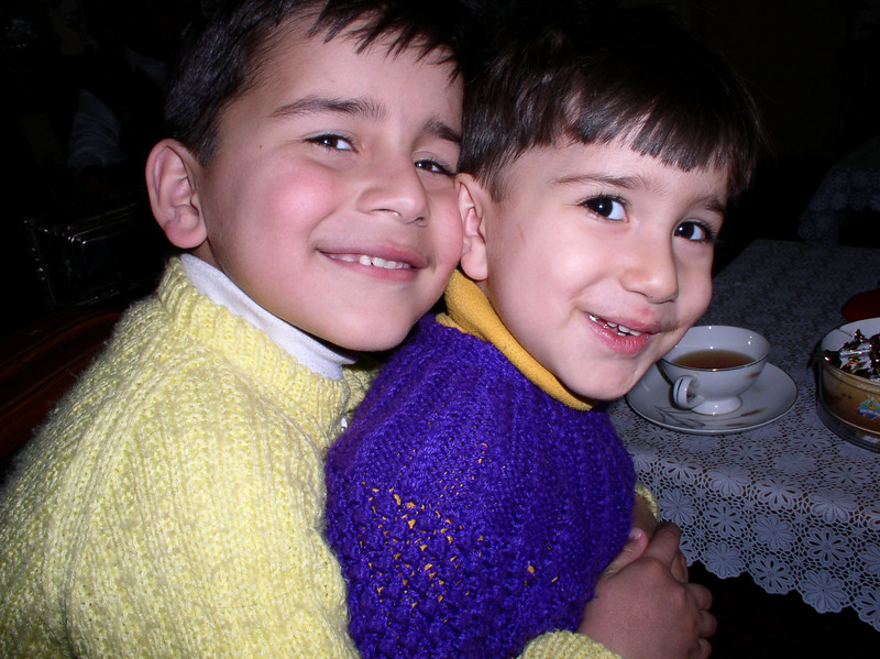 Sweater siblings, Omar and his sister.