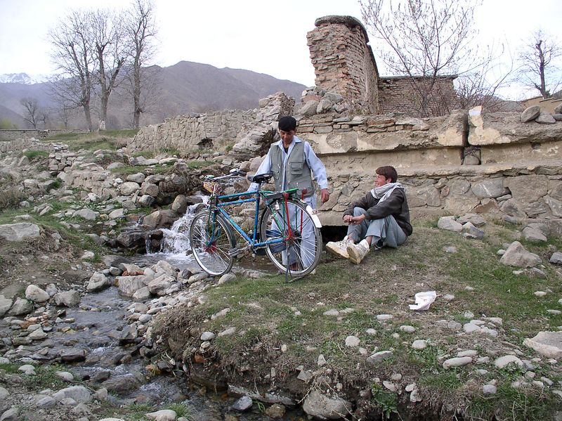 Bicycle washing in Paghman province.