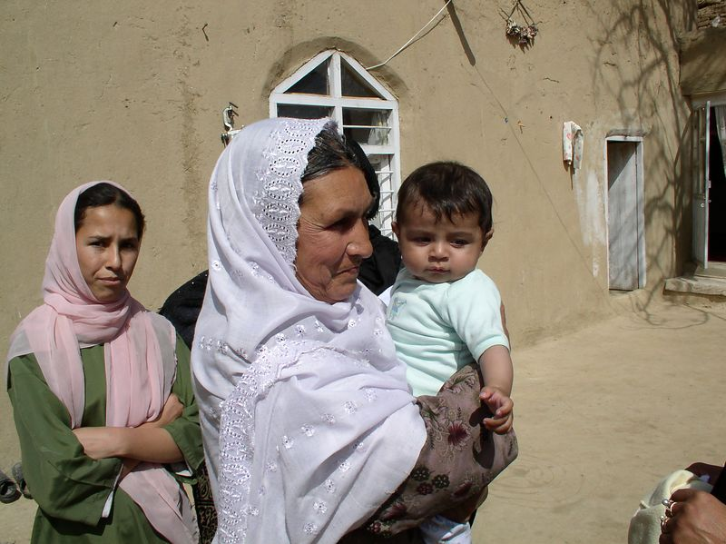 Anisa Kayoumy and the matriarch of the village, mother of 9, grandmother of 50.