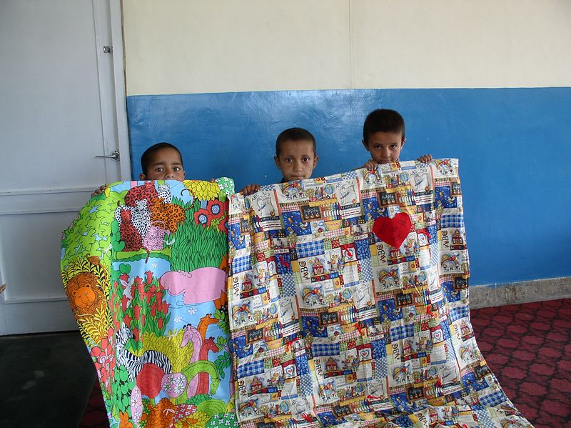 a sample of the quilts donated from the Afghan Civil society to Alluhuddin Orphanage