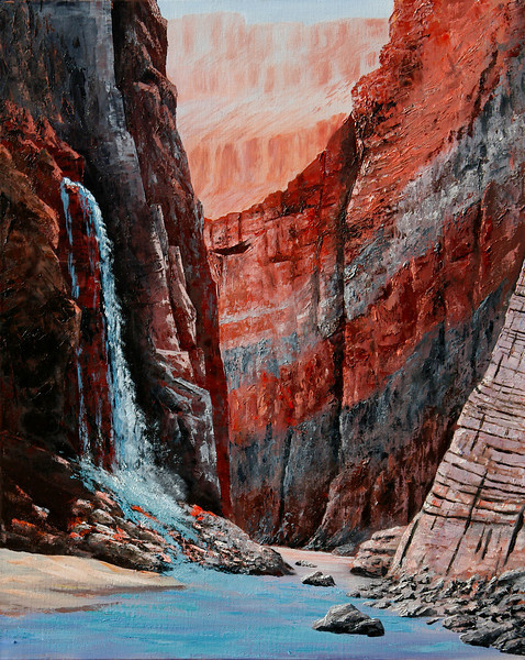 """COLORADO RIVER VIEW OF GRAND CANYON<br /> <br /> Grand Canyon, Arizona<br /> 30""""x 20""""<br /> oil on canvas<br /> 2006"""