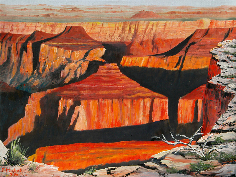 """GRAND CANYON SUNSET<br /> <br /> Grand Canyon, Arizona<br /> 24""""x 18""""<br /> oil on canvas<br /> 2006"""