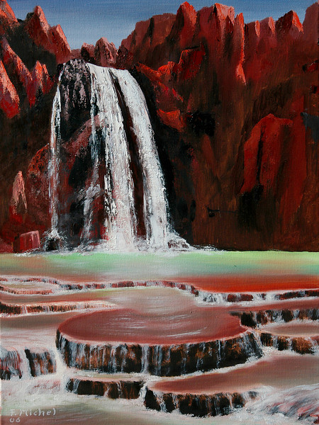 "HAVASU FALLS<br /> <br /> Grand Canyon, Havasupai, Arizona<br /> 30""x 24""<br /> oil on canvas<br /> 2006"