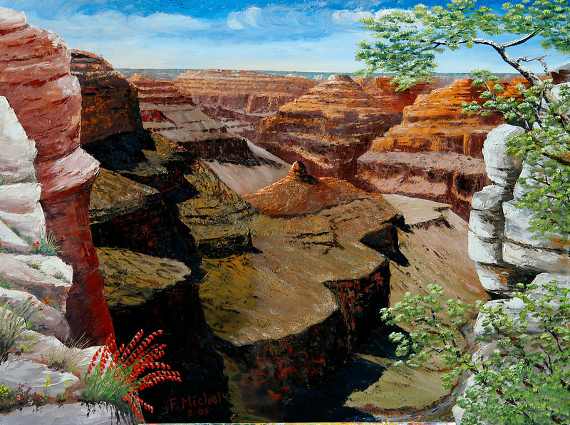 "GRAND CANYON CREVICE VIEW<br /> <br /> Grand Canyon, Arizona<br /> 32""x 24""<br /> oil on canvas<br /> 2006"