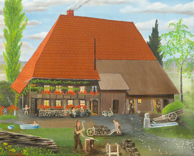 "Farmhouse was built in 1778<br /> Aarwangen, Bern, Switzerland<br /> 20""x 16""<br /> oil on canvas<br /> 2008"