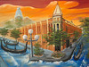 "DOWNTOWN ELLENSBURG WITH RED SUNSET<br /> <br /> Ellensburg, Washington<br /> 24""x 18""<br /> oil on canvas<br /> 2003<br /> <br /> JM"
