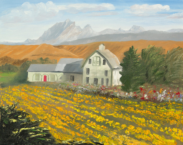 """YELLOW BARN AND SUNFLOWERS<br /> <br /> Thorp, Washington<br /> 20""""x 16""""<br /> oil on canvas<br /> 2003<br /> <br /> JM"""
