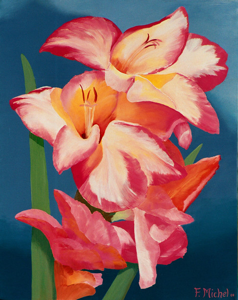 """PINK LILY<br /> <br /> 18""""x 24""""<br /> oil on canvas<br /> 2001<br /> <br /> sold to Lillian"""