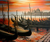 "VENICE GONDOLA HARBOR<br /> <br /> Venice, Italy<br /> 28""x 24""<br /> oil on canvas<br /> 2003<br /> <br /> LG"