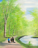 "STROLLING MICHEL BOYS<br /> <br /> Rhinehart Park, Ellensburg, Washington<br /> 16""x 20""<br /> oil on canvas<br /> 2007<br /> <br /> JM"