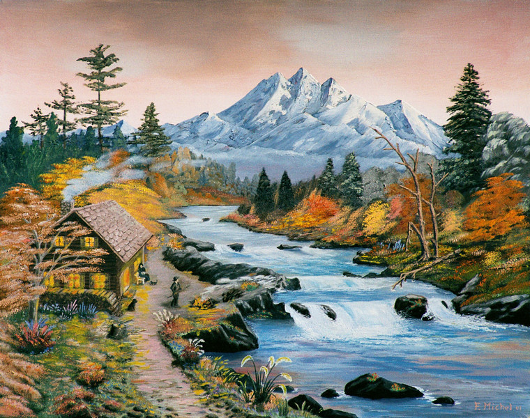 """MY CABIN ON MOUNTAIN RIVER<br /> <br /> 28""""x 24""""<br /> oil on canvas<br /> 2001"""