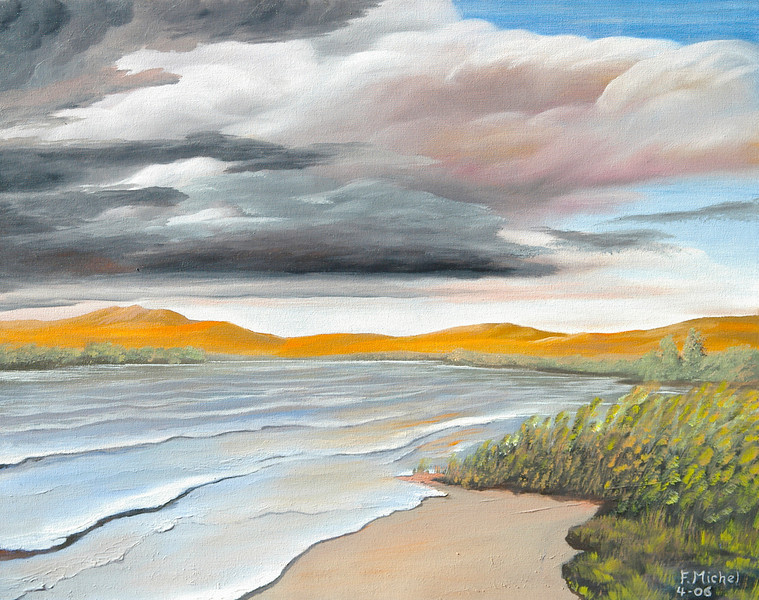 """CLOUD OVER WASHOE LAKE<br /> <br /> Washoe Lake near Reno, Nevada<br /> 28""""x 20""""<br /> oil on canvas<br /> 2006"""