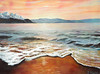 "SUNSET AT LAKE TAHOE BEACH<br /> <br /> Lake Tahoe, Nevada<br /> 24""x 18""<br /> oil on canvas<br /> 2004"