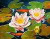 "GOLDFISH & WATERLILIES<br /> <br /> 24""x 20""<br /> oil on canvas<br /> 2000<br /> <br /> Roberta"