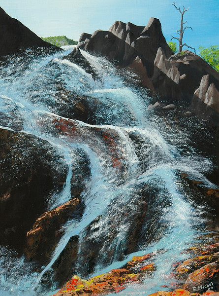 """CASCADE ABOVE LAKE TAHOE<br /> <br /> Lake Tahoe, California<br /> 24""""x 32""""<br /> oil on canvas<br /> 2004"""