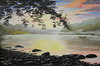 "CANOE AT SUNSET<br /> <br /> Are River, Aarwangen, Bern, Switzerland<br /> 30""x 18""<br /> oil on canvas<br /> 2001<br /> <br /> JM"