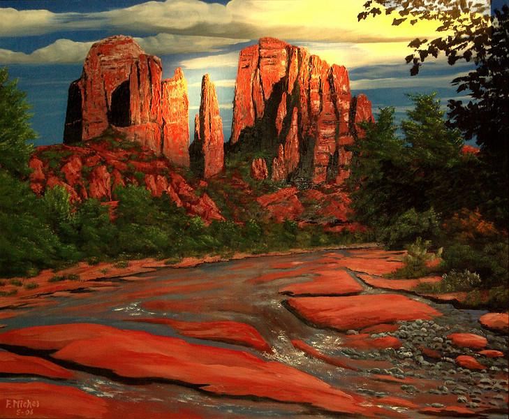 """THE CATHEDRAL IN SUNSHINE<br /> <br /> Sedona, Arizona<br /> 30""""x 24""""<br /> oil on canvas<br /> 2006"""